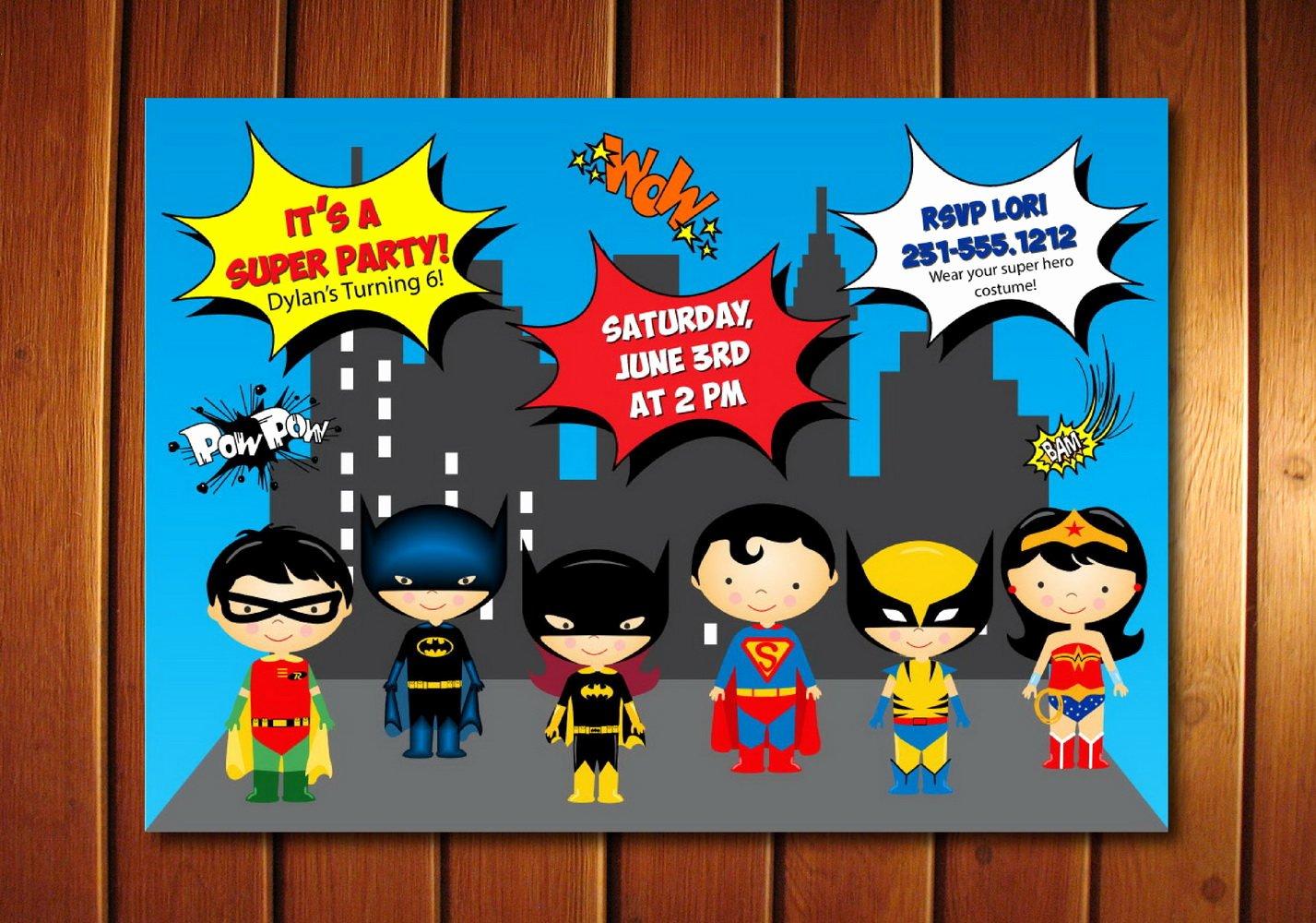 Super Hero Birthday Party Invitations Beautiful Super Hero Invitation Kids Super Hero Birthday Invitation