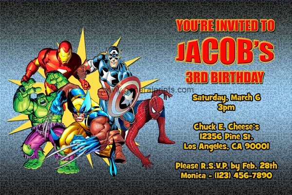 Super Hero Birthday Party Invitations Elegant Marvel Superhero Invitations