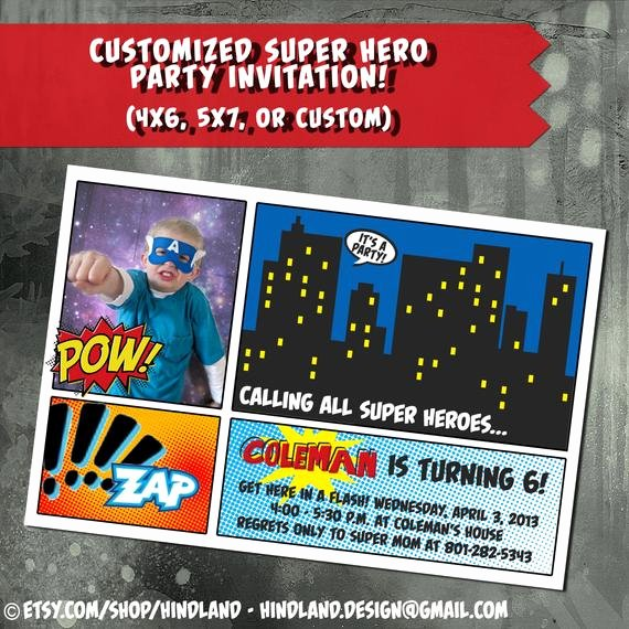Super Hero Birthday Party Invitations Luxury Super Hero Superhero Birthday Invitation Ic by Digigoose