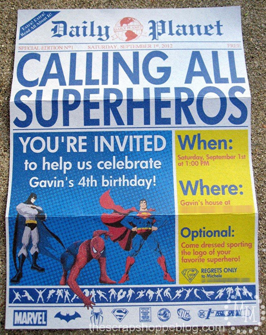 Super Hero Birthday Party Invitations New Superhero Newspaper Birthday Invitation the Scrap Shoppe