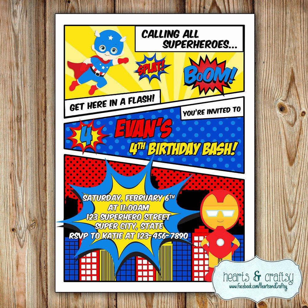 Super Hero Birthday Party Invitations New Superhero Party Invitation Super Hero Birthday Invitation