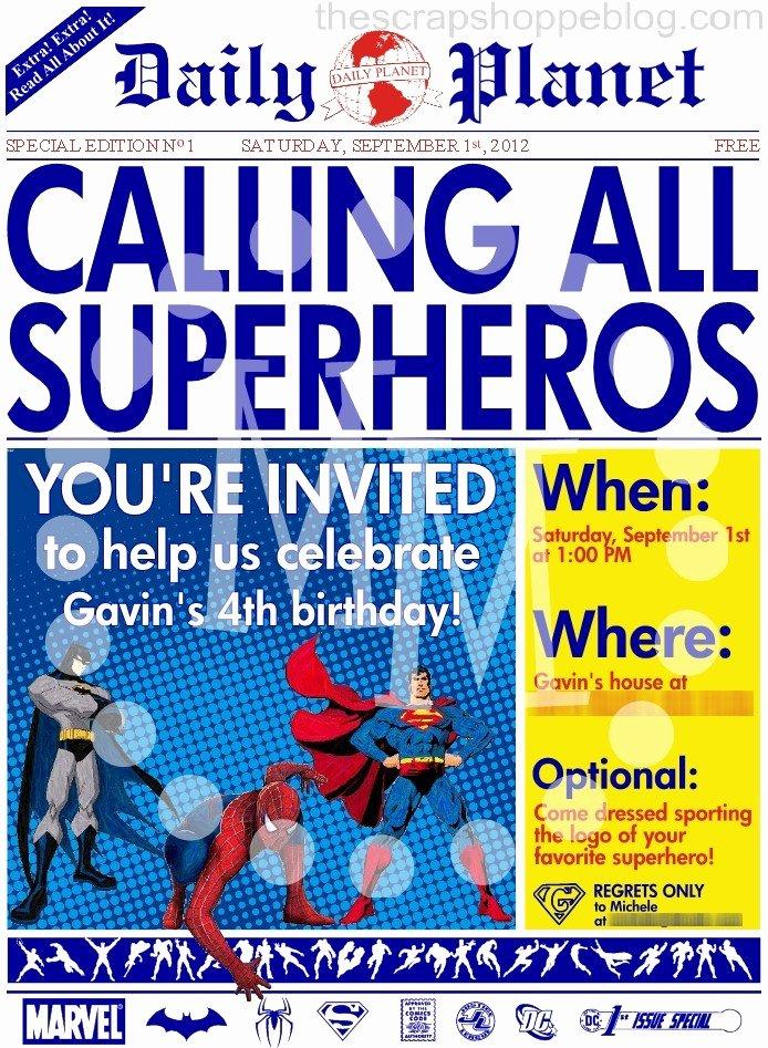 Super Hero Birthday Party Invitations Unique Superhero Newspaper Birthday Invitation the Scrap Shoppe