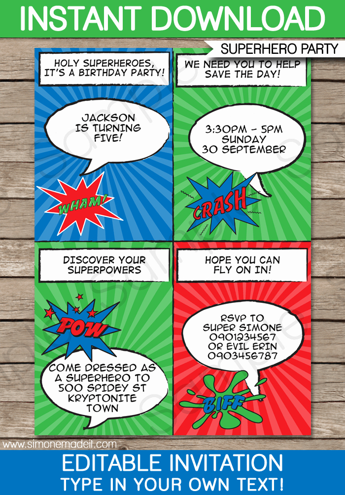 Superhero Birthday Invitations Templates Free Awesome Super Hero Party Invitations Template
