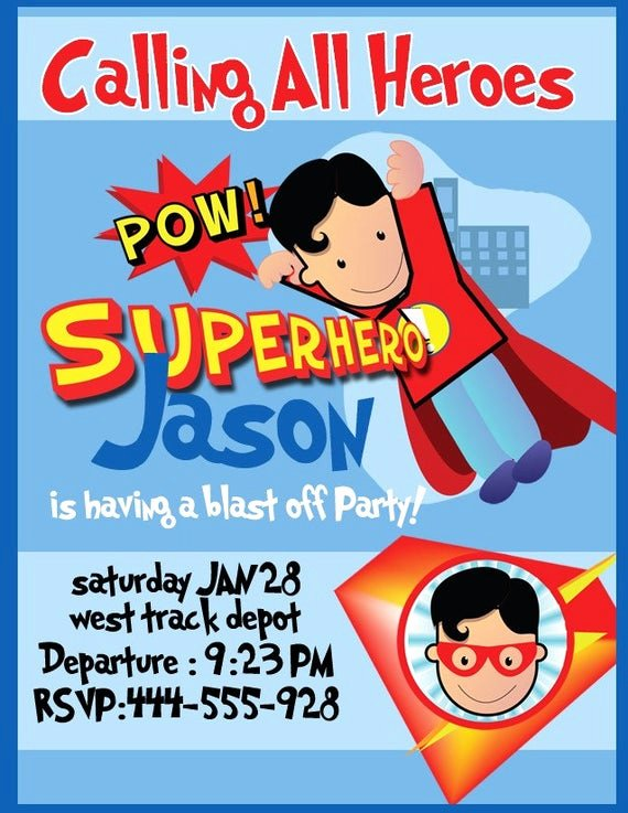 Superhero Birthday Invitations Templates Free Best Of Super Hero Birthday Party Invitation Digital Printable