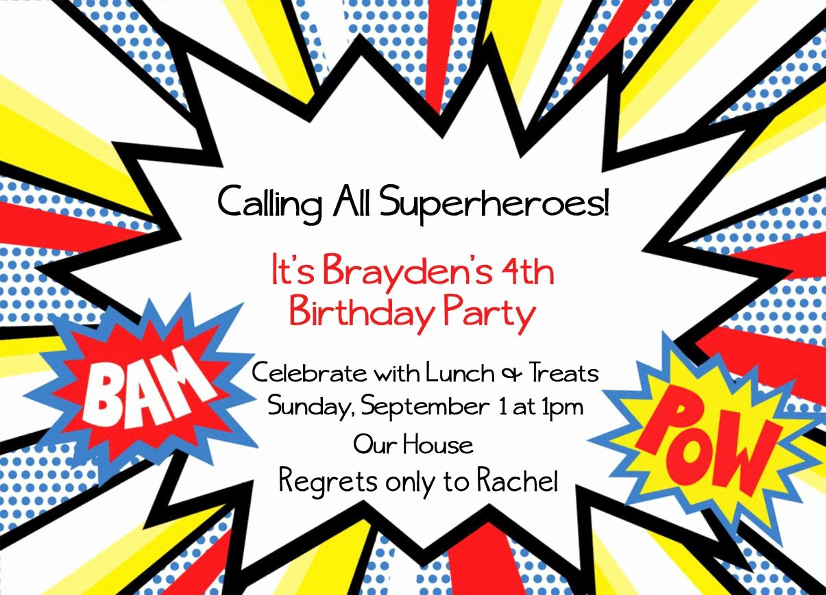 Superhero Birthday Invitations Templates Free Best Of Superhero Invitation Templates