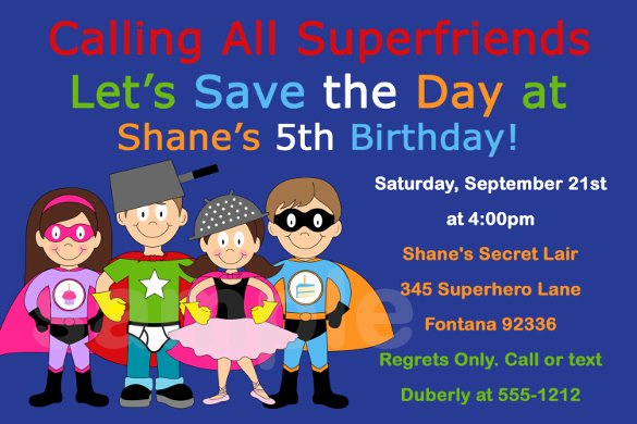 Superhero Birthday Invitations Templates Free Elegant 21 Superhero Birthday Invitations Psd Vector Eps Ai Word
