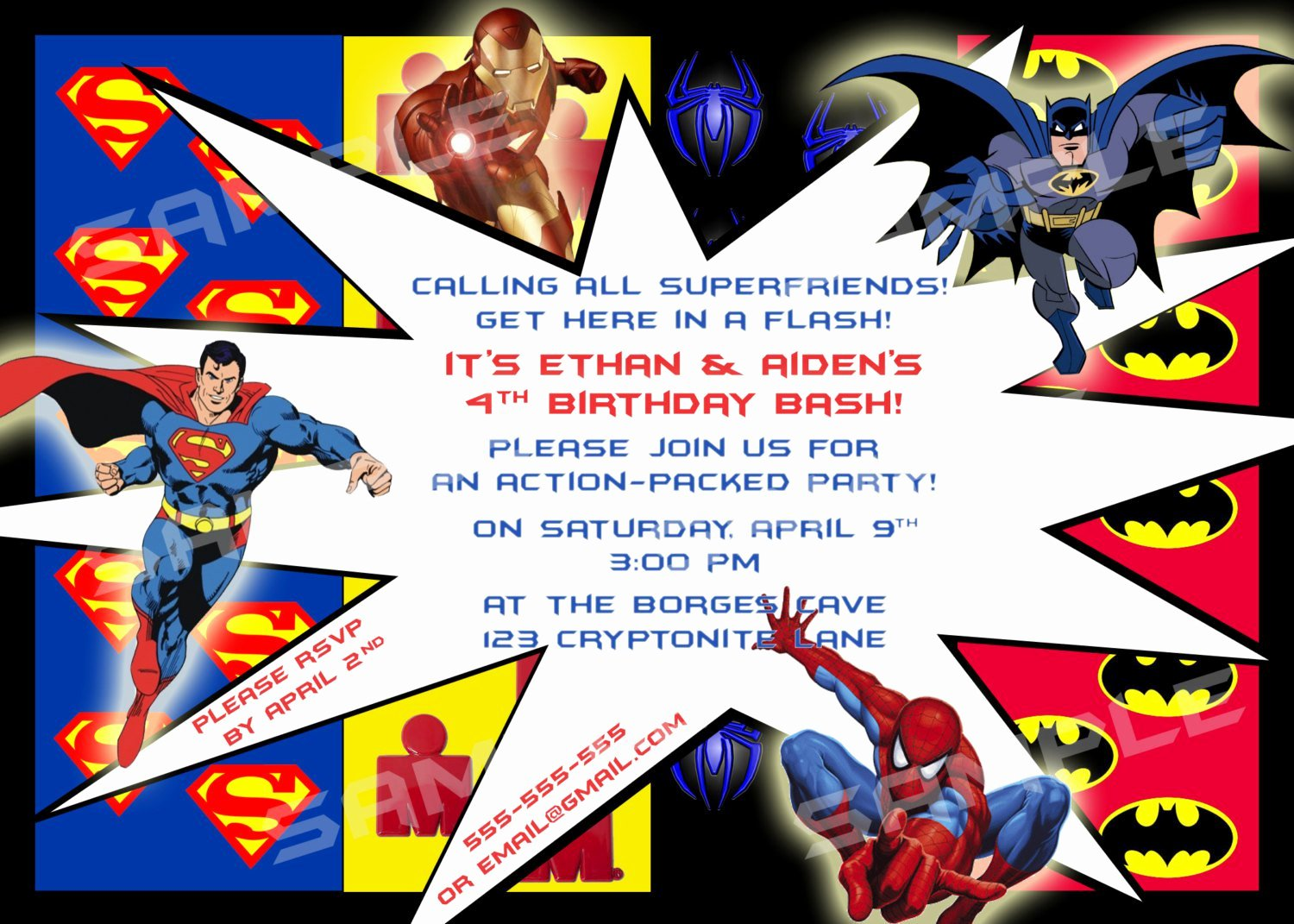 Superhero Birthday Invitations Templates Free Elegant Superhero Birthday Party Invitation Templates