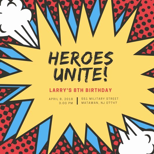 Superhero Birthday Invitations Templates Free Unique Customize 113 Superhero Invitation Templates Online Canva