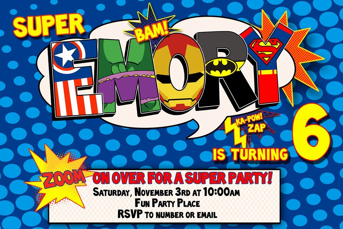 Superhero Birthday Invitations Templates Free Unique Superhero 1st Birthday Invitations