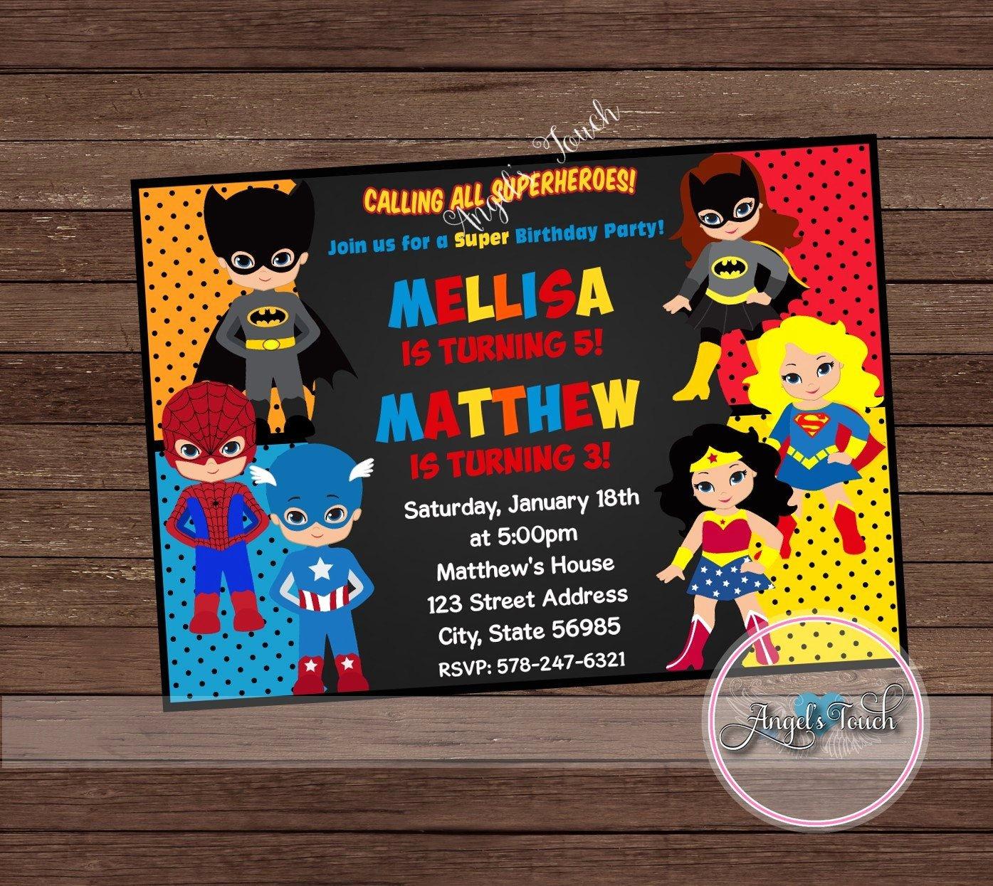 Superhero Birthday Party Invitations Beautiful Super Hero Party Invitation Superheroes Birthday Invitation