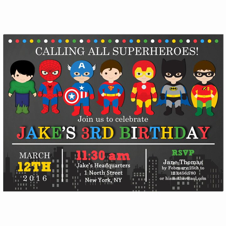 Superhero Birthday Party Invitations Beautiful Superhero Party Invitation by that Party Chick Superhero Chalkboard Collection