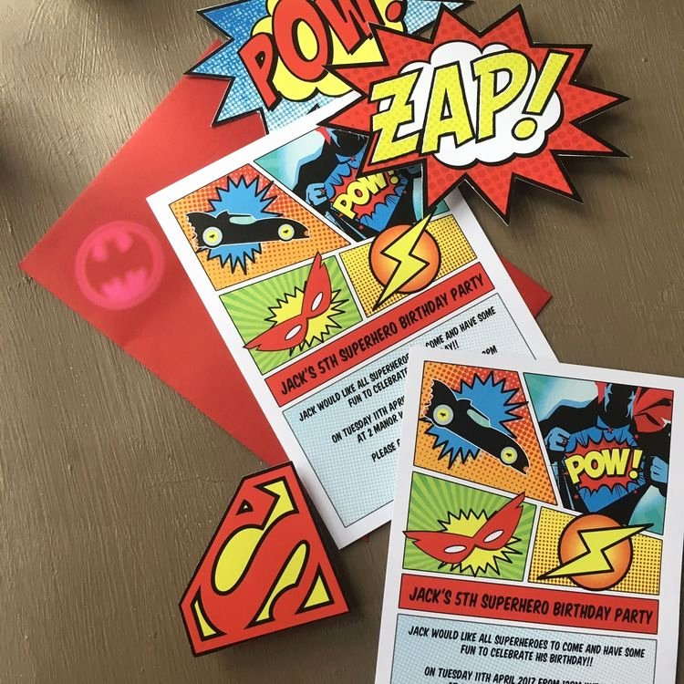 Superhero Birthday Party Invitations Best Of Ic Book Superhero Party Invitation From £0 80 Each
