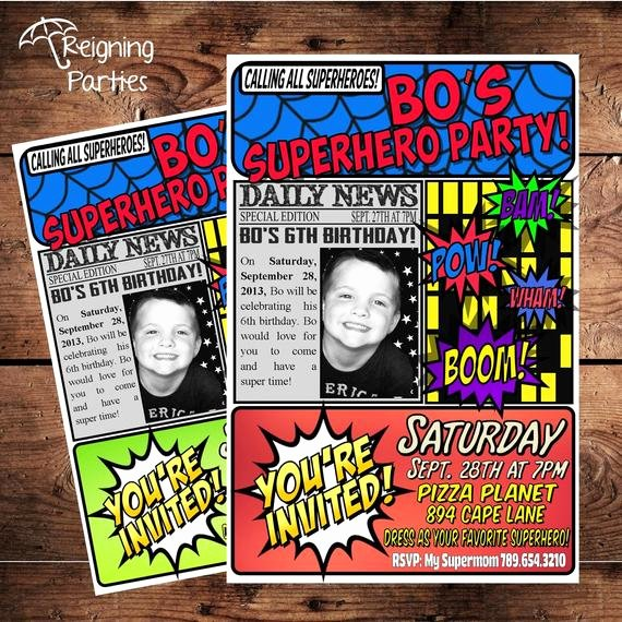 Superhero Birthday Party Invitations Best Of Super Hero Birthday Party Invitation Save the Date Digital