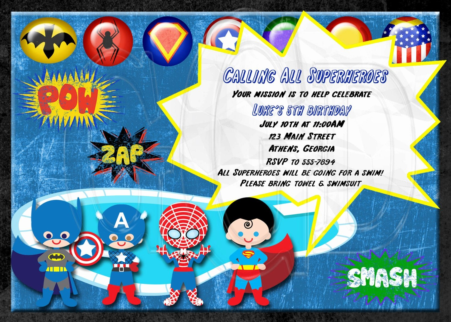 Superhero Birthday Party Invitations Best Of Super Hero Invitation Birthday Waterslide or Pool Party