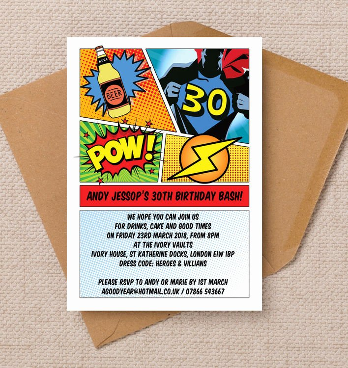 Superhero Birthday Party Invitations Elegant Ic Book Inspired Superhero Birthday Party Invitation From £0 90 Each