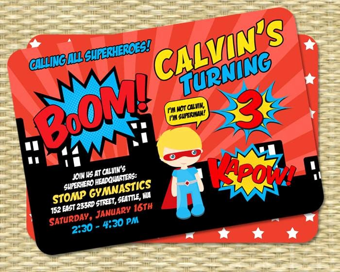Superhero Birthday Party Invitations Fresh Superhero Birthday Invitation Kids Birthday Invite 1st Birthday 3rd Bi Sunshine Printables