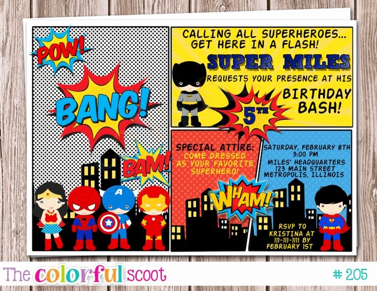 Superhero Birthday Party Invitations Inspirational 1000 Images About Superhero Invitation Card On Pinterest