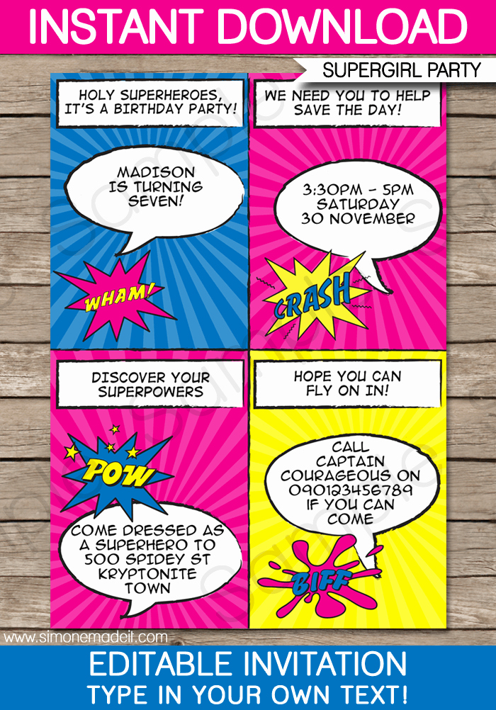 Superhero Birthday Party Invitations Inspirational Superhero Girl Party Invitations Template