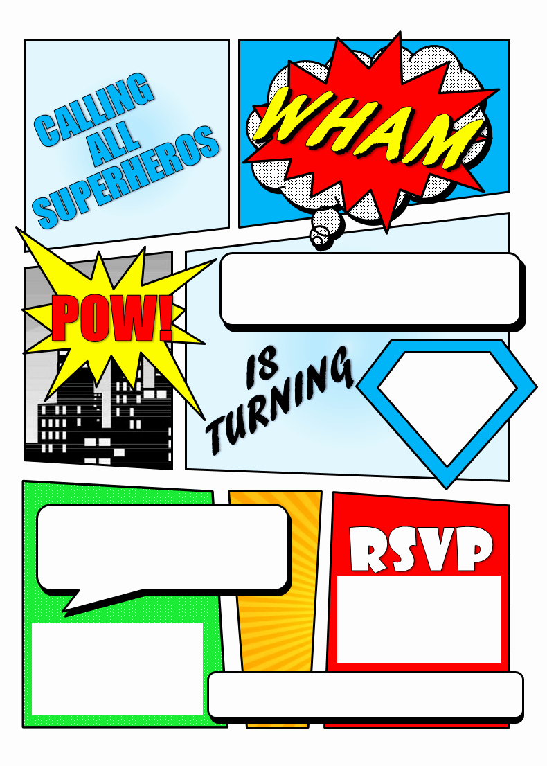 Superhero Birthday Party Invitations Lovely Make Your Own Ic Book Printable
