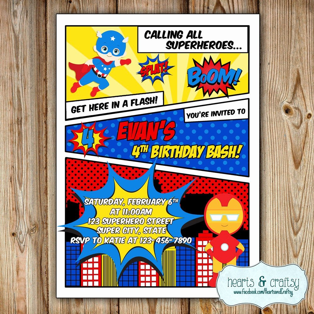 Superhero Birthday Party Invitations Lovely Superhero Party Invitation Super Hero Birthday Invitation