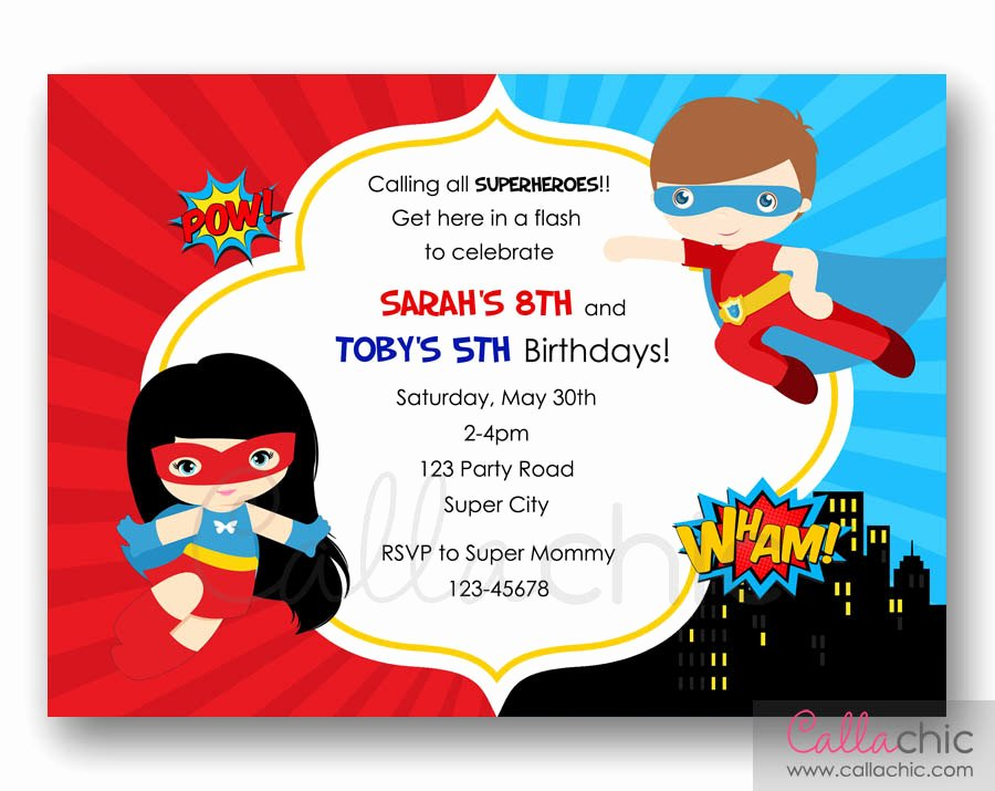 Superhero Birthday Party Invitations Lovely Superheroes Birthday Invitation Printable Twin Joint