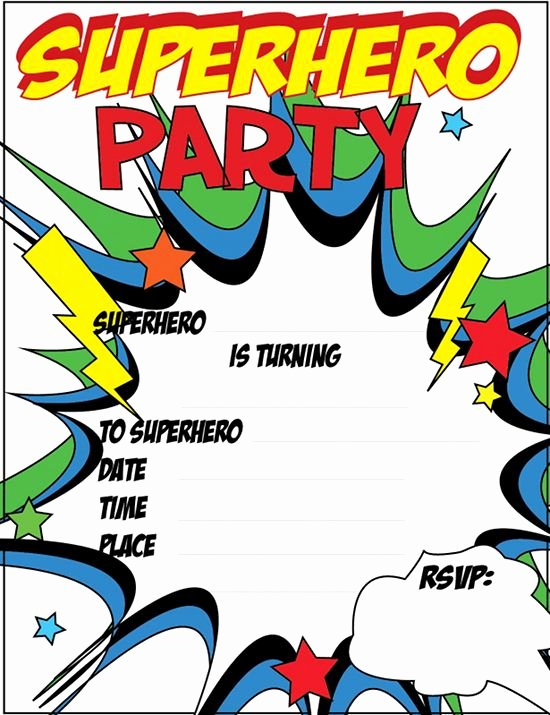 12 blank superhero birthday invitations