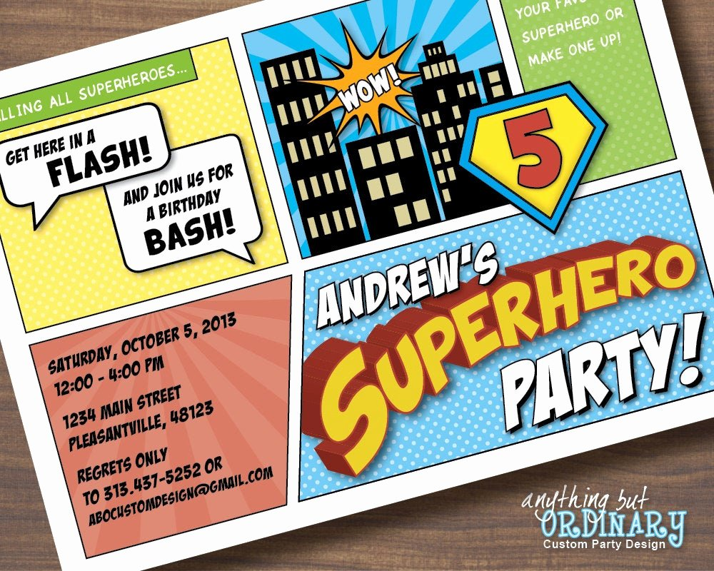 Superhero Birthday Party Invitations Luxury Superhero Birthday Invitations Printable Superhero