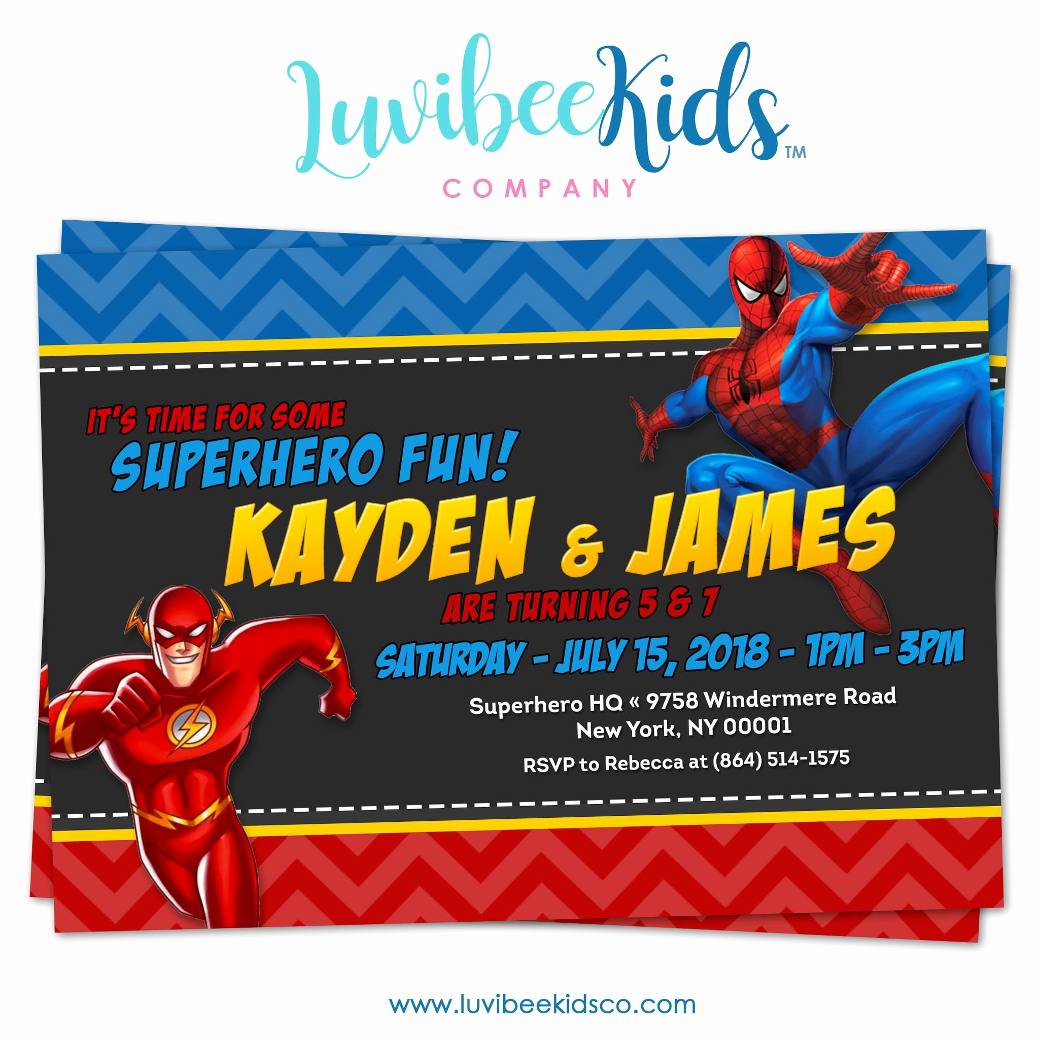 Superhero Birthday Party Invitations Unique Bined Superhero Birthday Invitation the Flash & Spiderman – Luvibeekidsco