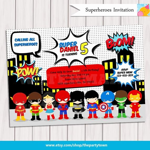 Superheroes Birthday Party Invitations Beautiful Super Hero Birthday Party Pop Art Superhero Invitation