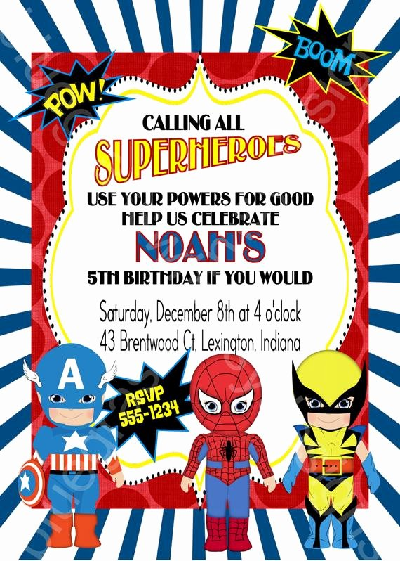 Superheroes Birthday Party Invitations Elegant Calling All Superheroes Birthday Party Invitation Boy or