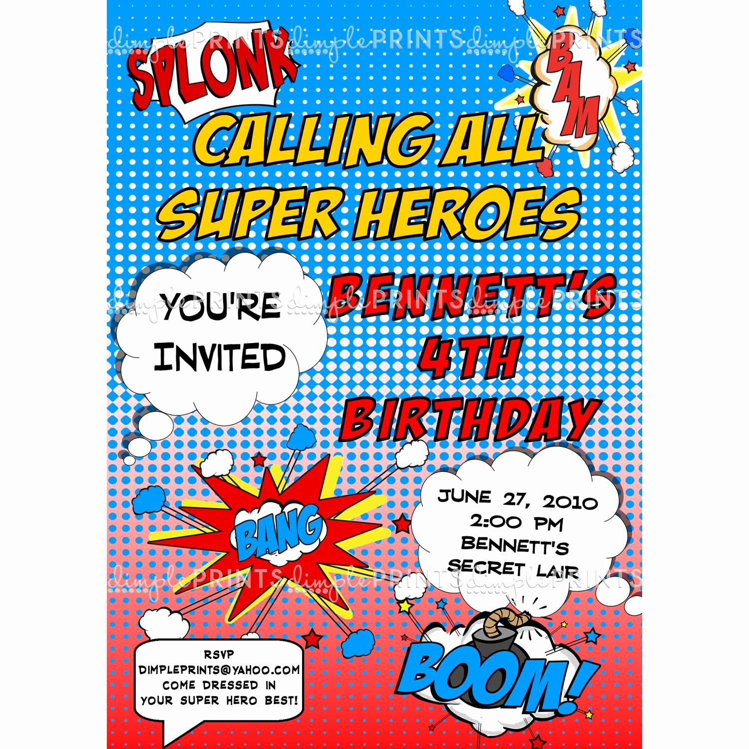 Superheroes Birthday Party Invitations Elegant Superhero Ic Printable Invitation Dimple Prints Shop
