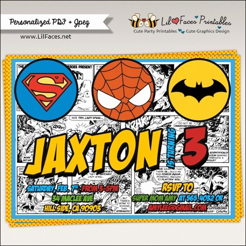 Superheroes Birthday Party Invitations Fresh Ics Strip Superhero Birthday Party Invitations