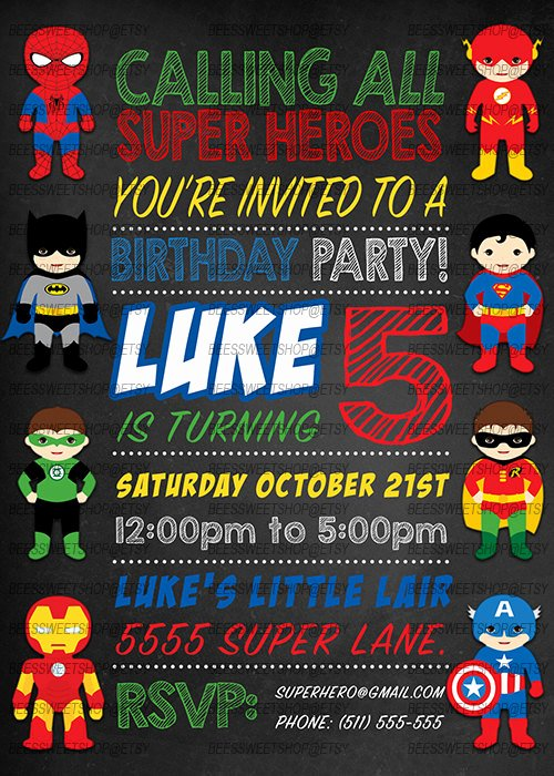 Superheroes Birthday Party Invitations Inspirational Superhero Birthday Invitations Printable Digital by
