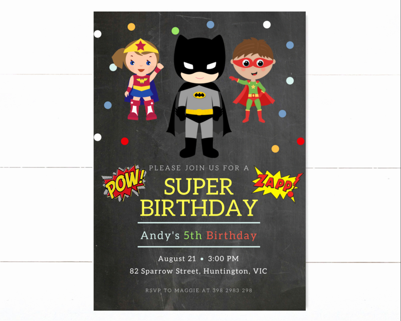 Superheroes Birthday Party Invitations Lovely Superhero Birthday Invitation