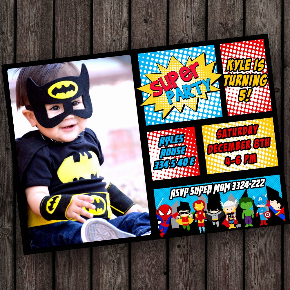 Superheroes Birthday Party Invitations Luxury Same Day Ship On Weekdays Custom Superhero Invitation tons