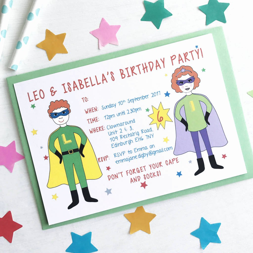 Superheroes Birthday Party Invitations New Twin or Joint Superhero Birthday Party Invitations by