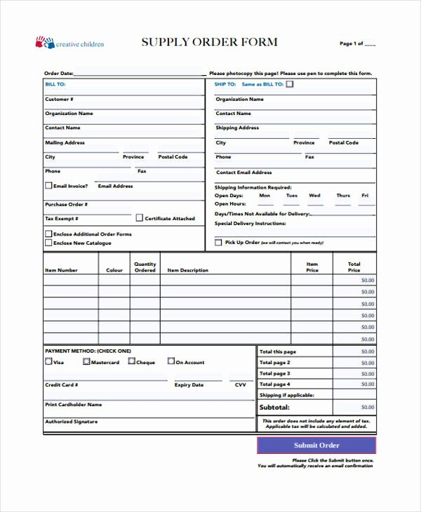 Supply order form Template Awesome 10 Supply order Templates Free Sample Example format Download