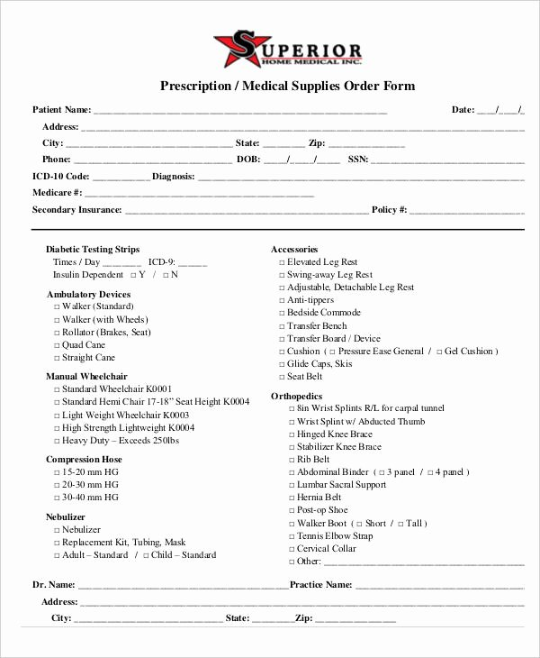Supply order form Template Best Of Medical order forms 11 Free Word Pdf format Download