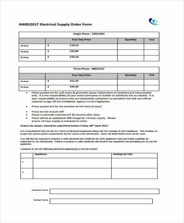 Supply order form Template Inspirational Supply order Templates 8 Free Pdf format Download
