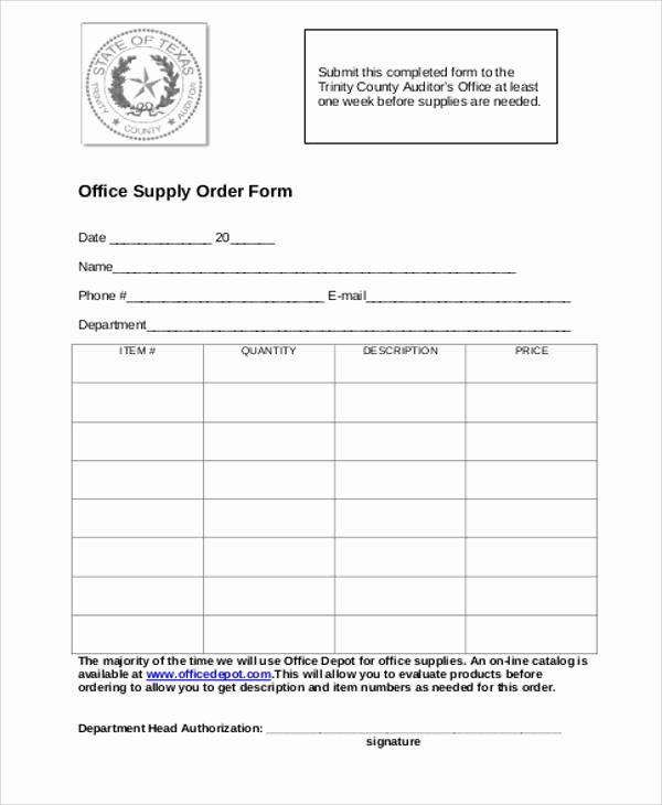 Supply order form Template Unique Printable order form Sample 10 Examples In Word Pdf