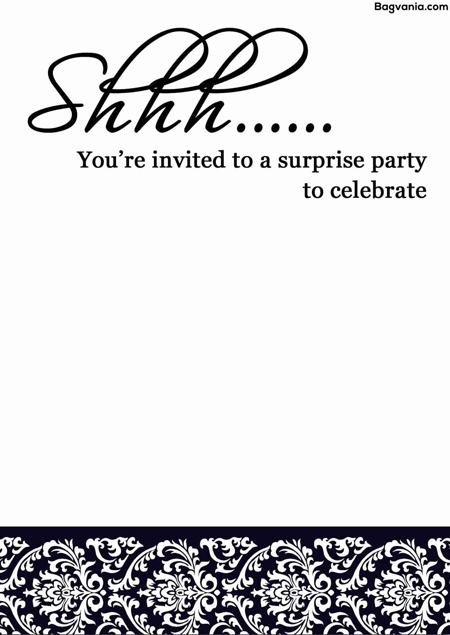 Surprise Party Invitation Template Awesome Free Printable Surprise Birthday Invitations – Bagvania Free Printable Invitation Template