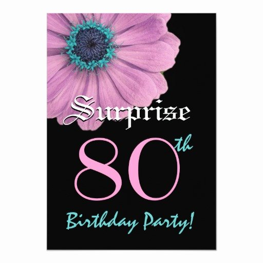 Surprise Party Invitation Template Awesome Surprise 80th Birthday Template Pink Daisy Invite