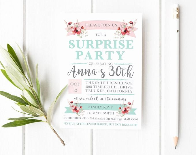 Surprise Party Invitation Template Best Of Surprise Party Invitation Template Surprise Birthday Party Invitation Printable Printable