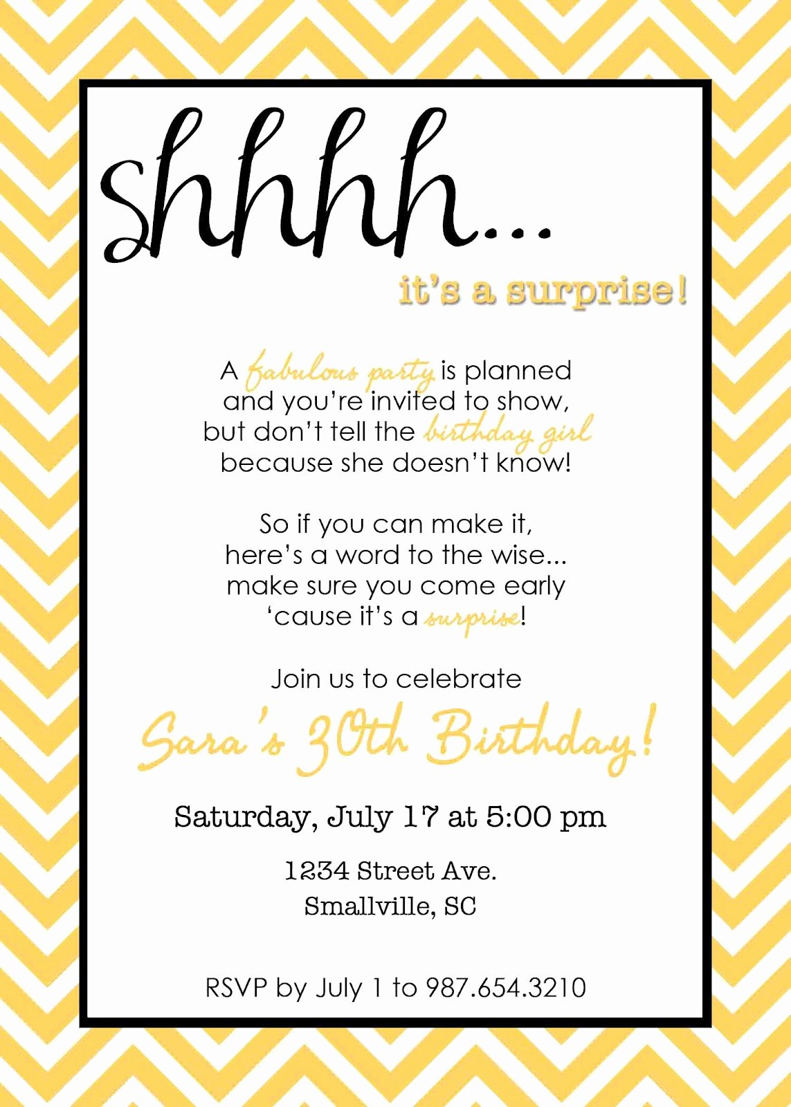 Surprise Party Invitation Template Best Of Wording for Surprise Birthday Party Invitations Free Invitation Templates Drevio