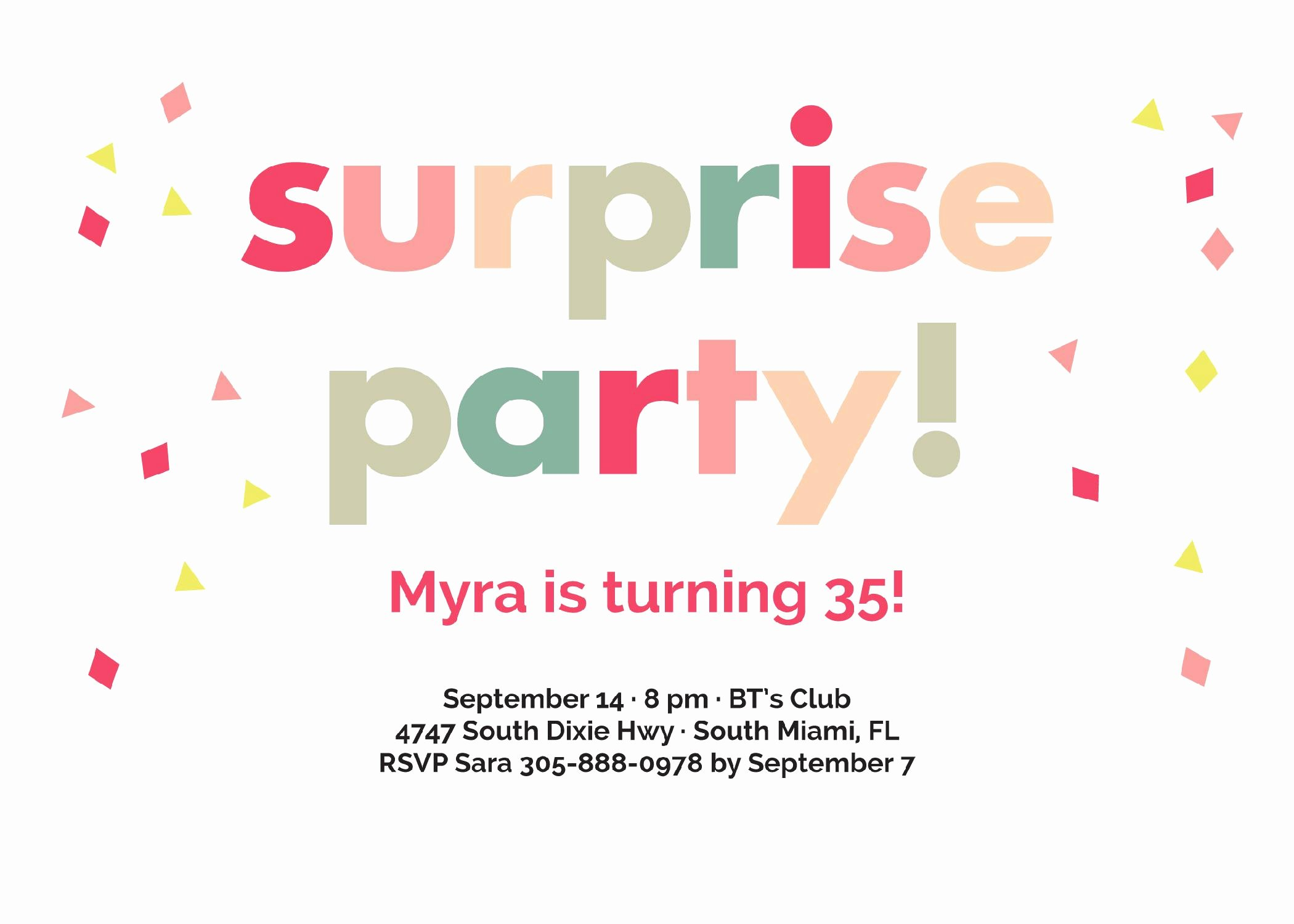 Surprise Party Invitation Template Inspirational Birthday Party Surprise Birthday Invitations Card Invitation Templates Card Invitation