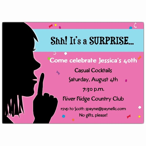Surprise Party Invitation Template Lovely Keep It Quiet Surprise Invitations