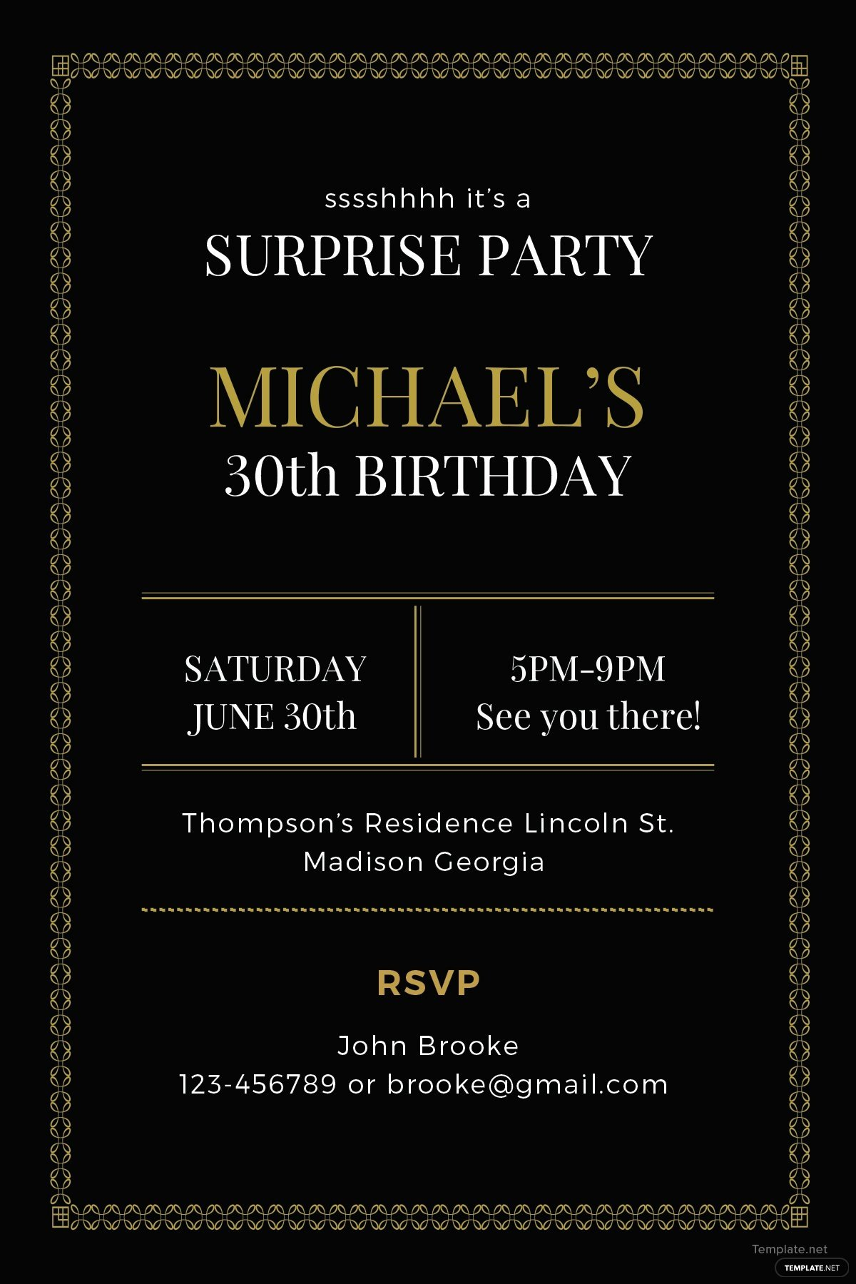 Surprise Party Invitation Template New Free Surprise Party Invitation Template In Adobe Illustrator