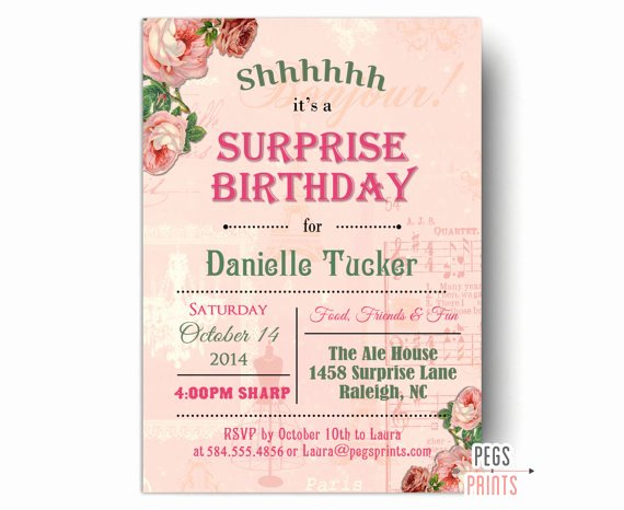 Surprise Party Invitation Template New Shabby Chic Surprise Party Invitation Printable Surprise