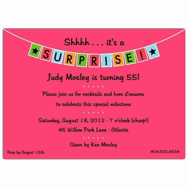 Surprise Party Invitation Templates Beautiful Banner Blue Surprise Party Invitations