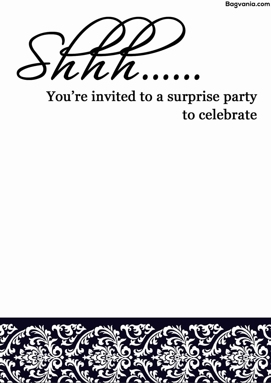 Surprise Party Invitation Templates Beautiful Free Printable Surprise Birthday Invitations – Bagvania Free Printable Invitation Template